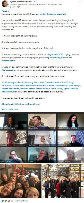 Post de remerciement de Sylvain Montcouqiol qui remercie ses collaborateurs