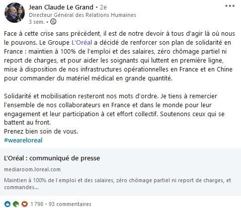 Screenshot de Jean Claude Le Grande qui partage le communiqué de Presse de L'Oréal