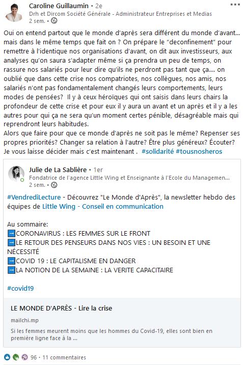 Screenshot d'un post de Caroline Guillaumin qui rends hommage aux femmes durant le Covid-19
