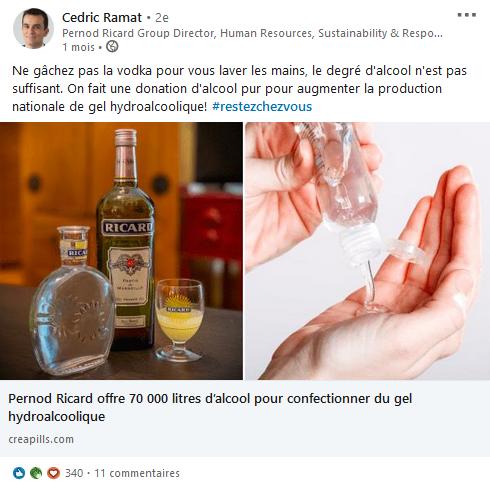 Capture d'écran d'un post de Cédrid Ramat de Pernod Ricard