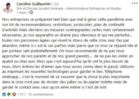 Post de Caroline Guillaumin sur la solitude des personnes agées
