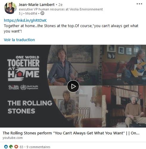 Screenshot d'un post de Jean-Marie Lambert qui partage un live des Rolling Stones