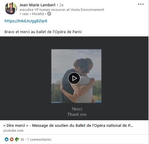 Capture d'écran d'un post de Jean-Marie Lambert d'un partage d'une vidéo sur l'Opéra de Paris