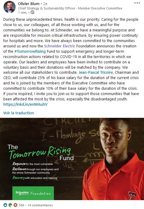 Screenshot d'un post d'Oliver Blum sur The Tomorrow Rising Fund